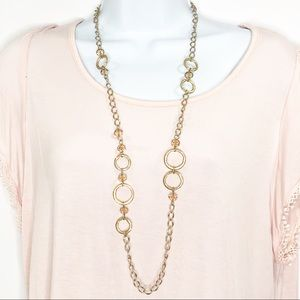 LOFT Hammered Circle Beaded long Chain Necklace